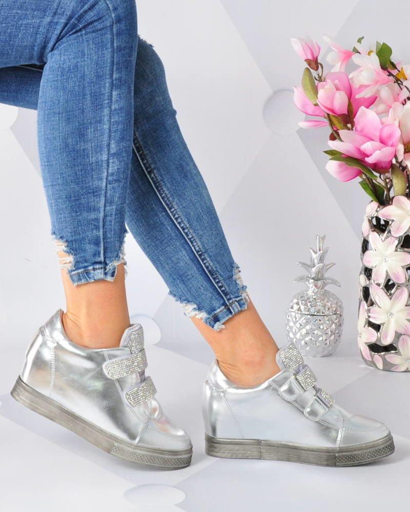 sneakersy damskie na koturnie srebrne